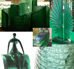 The image of Green Stacked Glass sculptures in collage of five