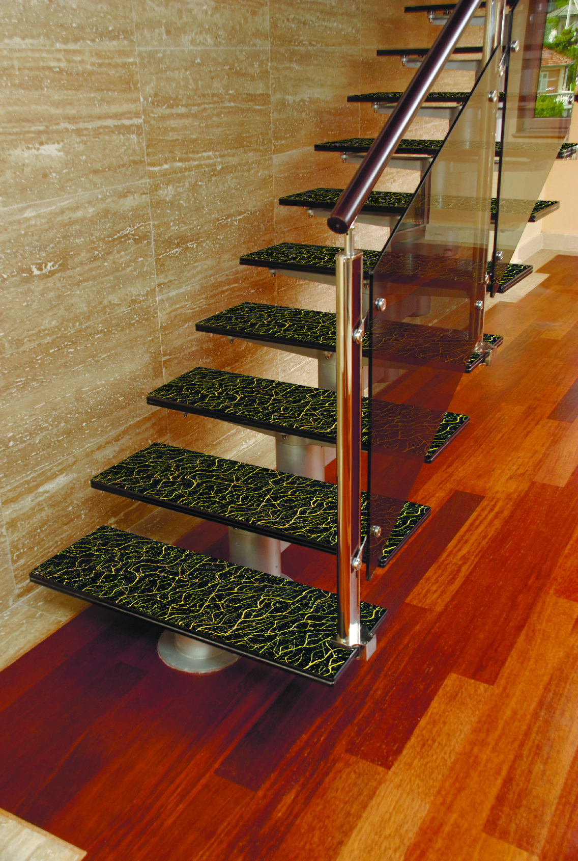 Acid Etched Glass Stairs in Green and Golden Patterns