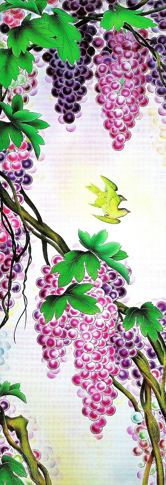 "Carved and Enameled Glass Panel ""Grapevines"" PGC118"