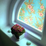 "Small bathroom window blue with pink flowers and green leaves design _""_ PGC561"